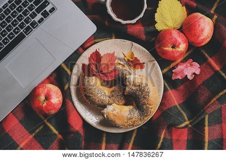 Top view of cozy autumn morning at home. Breakfast with laptop cup of tea and bagel with apples on woolen plaid blanket. Working at home.