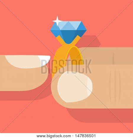 Man putting wedding ring on the finger women. Abstraction close-up. Marriage proposal. Symbol of love and fidelity. Bride and groom. Wedding ceremony. poster