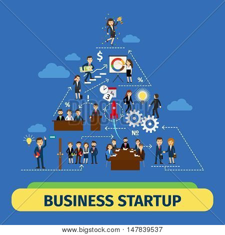 Success business teamwork vector concept. Business startup illusration