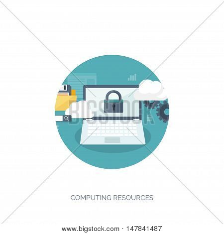 Vector illustration. Flat cloud computing background. Data storage network technology. Multimedia content, web sites hosting. Memory, information transfer.