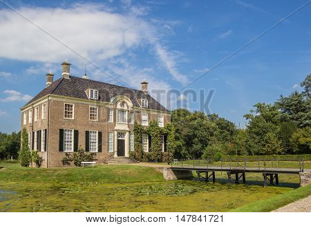 DALFSEN, NETHERLANDS - AUGUST 31, 2016: Historical dutch mansion Huis Den Berg in Dalfsen, Holland