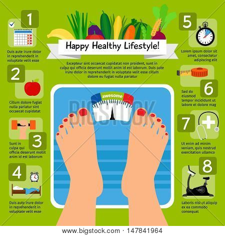 Weight loss scale concept with healthy food and sport icons. Healthy nutrition and fitness activity vector illustration