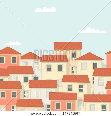 Panorama of the old town. Seamless background.