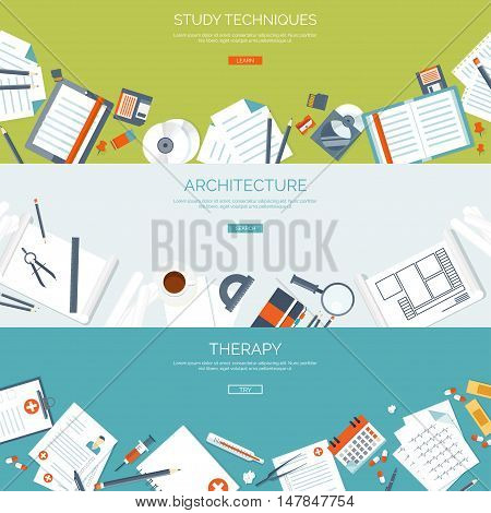 Vector illustration. Flat backgrounds set. Distance education, learning. Online courses, web school. Knowledge, information. Study process. E-learning.