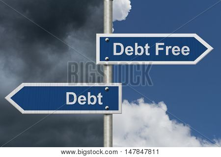 Having Debt versus being Debt Free Two Blue Road Sign with text Debt Free and Debt with sky background, 3D Illustration