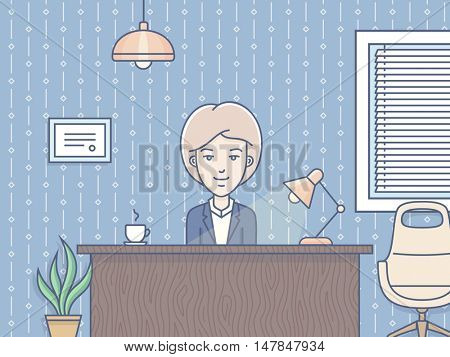 Human Resource Business Concept - woman sitting at the table and working in the office. Vector illustration