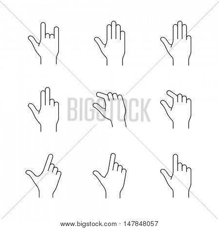 Gesture symbols. Vector icon set for manual or mobile app. Linear style