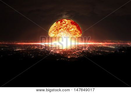 Explosion of nuclear bomb over city. Explosion of nuclear bomb.