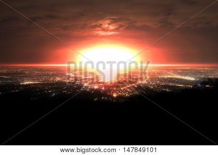 Explosion of nuclear bomb. Explosion of nuclear bomb over city.