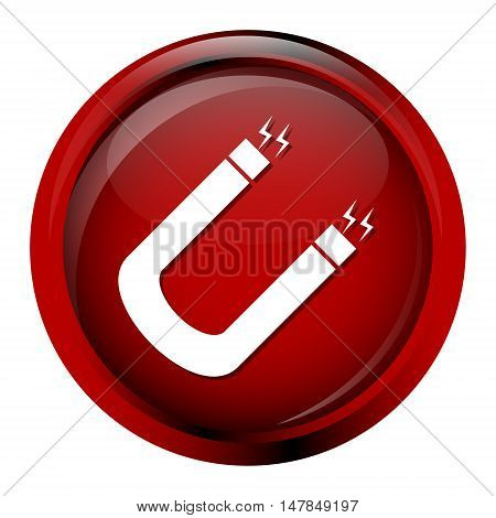 Magnet icon on red button vector illustration