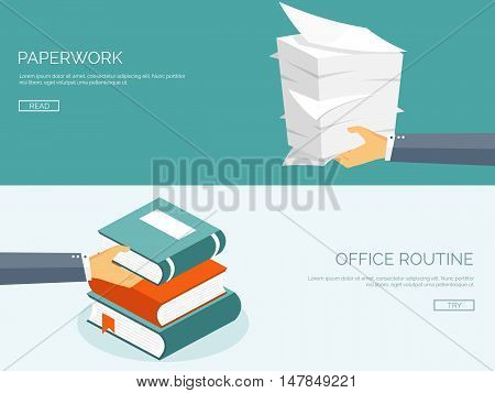 Vector illustration. Flat background with papers. paperwork and office routine, documents. Workspace.