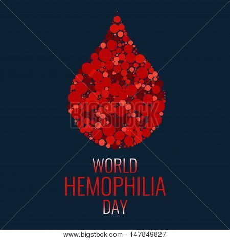 Hemophilia World Day. Drop of blood made of dots on blue background. Blood drop symbol. Hemophilia awareness symbol. Stop hemophilia. Isolated vector illustration.