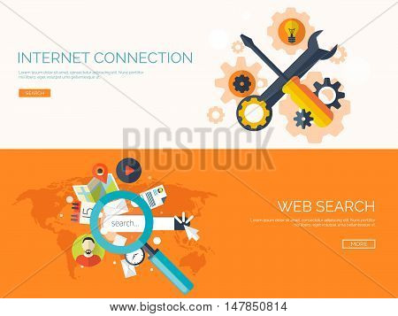 Vector illustration. Web search. Flat computing background. Programming, coding. Development, search.Engine optimization. Innovation, technologies. Mobile app.