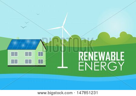 Renewable energy vector illustration. House with blue solar panels on the roof. Wind generator turbine near house. The production of energy from the sun and wind. Ecological types of electricity