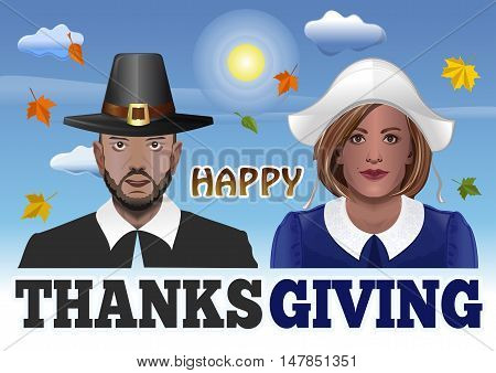 Thanksgiving Couple. Vector illustration for Thanksgiving with man and woman dressed as pilgrims against the sky and the falling of autumn leaves