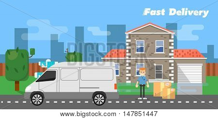 White truck and delivery boy with cardboard boxes near house on background of urban landscape. Fast delivery banner, vector illustration. Commercial vehicle. Professional and reliable courier service