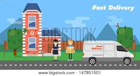 Delivery boy giving cardboard box to young woman near house on background of nature landscape. Fast delivery banner, vector illustration. Commercial vehicle. Professional and reliable courier service
