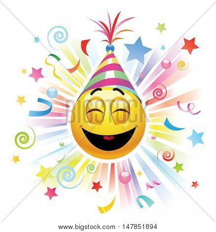 Smiley celebrating. High quality vector illustration. Smiley being cheerful and having fun at the party.