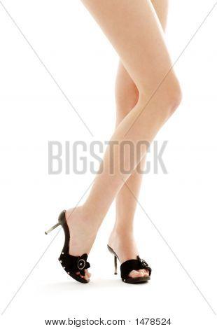 Long Legs In Black Kinky Shoes