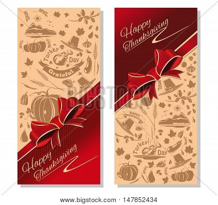 Happy Thanksgiving. Festive red and beige background with red ribbon and icons for Thanksgiving Day. Vector illustration