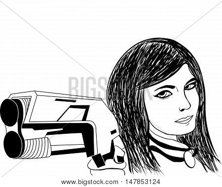 smiling girl with a gun ink sketch vector