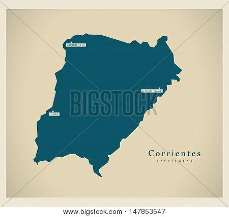 Modern Map - Corrientes AR vector high res