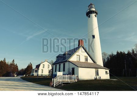 New Presque Isle Lighthouse, built in 1870, Lake Huron, Michigan, USA
