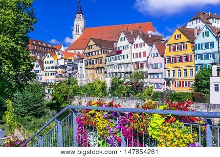 Beautiful towns of Europe - floral colorful town Tubingen - Germany (Baden-Wurttemberg)