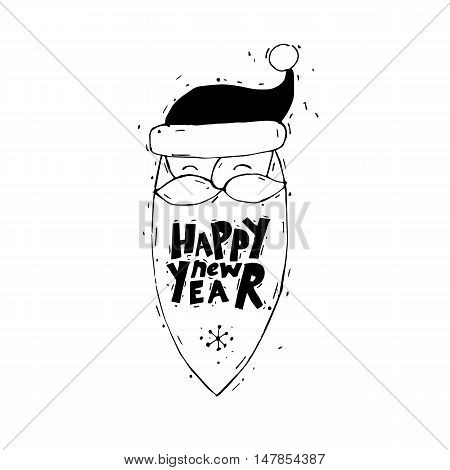 Merry Christmas and Happy New Year. Xmas Poster, banner, printed matter, greeting card. Lettering, calligraphy. Santa Claus. Hand-drawn, lino-cut. Flat design vector illustration.