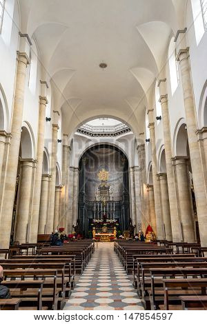Turin, Italy - december 31, 2015: Interior of Turin Cathedral (Duomo di Torino) built in 1470. It is the Chapel of the Holy Shroud (the current resting place of the Shroud of Turin).