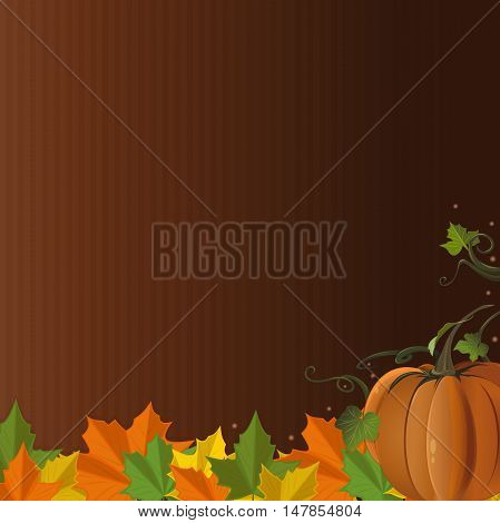 Autumn design with pumpkin and colorful fallen leaves on vintage brown background. Vector illustration