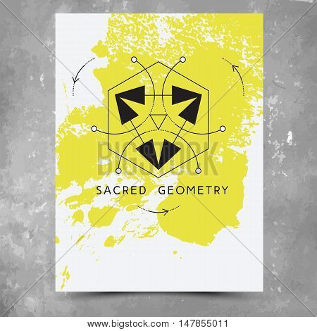 Vector geometric alchemy symbols with phrases on hand drawn background with splash of yellow paint. Abstract occult and mystic signs. Business card template and line hipster logotype. Concept of yoga.