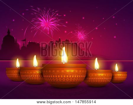 Glowing realistic Oil Lamps (Diya) and Temple silhouette with lights, Beautiful festive background with fireworks explosion, Creative illustration for Indian Festival, Happy Diwali celebration.