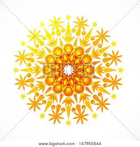 Creative floral design decorated rangoli for Indian Festival, Happy Diwali celebration.
