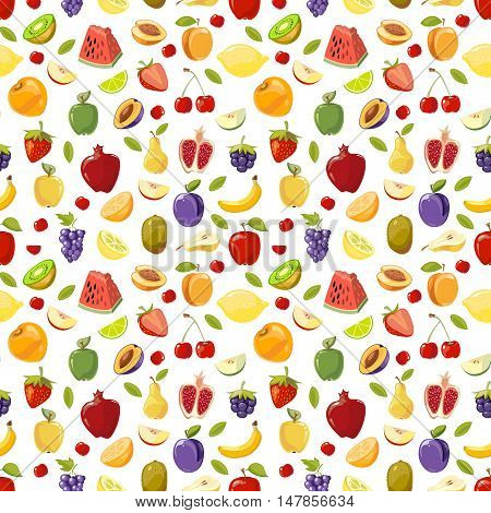 Miscellaneous vector fruits seamless pattern. Watermelon pomegranate pear and plum illustration