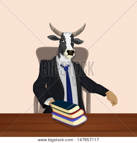 Half Human Half Animal Concept, Cow dressed up in suit, sitting on chair, Vector Anthropomorphic design. Illustration.