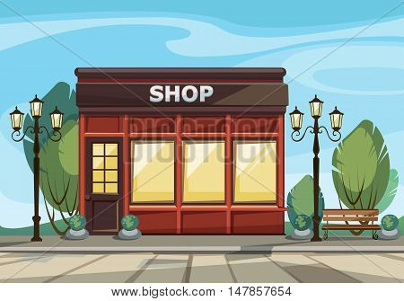 Vector Old Europian Shop Boutique Store Front with Big Windows, Place for Name, Greenery and Street Lanterns