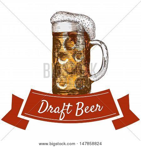 Draft beer illustration. Vector colorful illustration of draft beer.