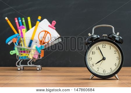 Education Time For Student Back To School With Alarm Clock