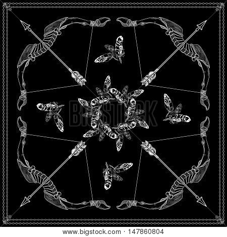 Black and white bandana square pattern design for print on fabric. Kerchief or neck scarf style. Mandala vector illustration with contour feathers, bows, arrows and ethnic abstract decorative elements.