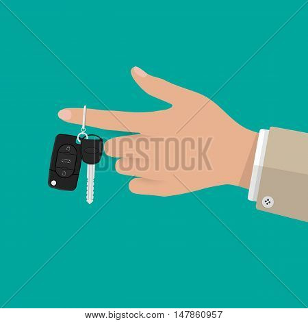 Hand holding car Key with alarm and chain. vector illustration in flat style on green background