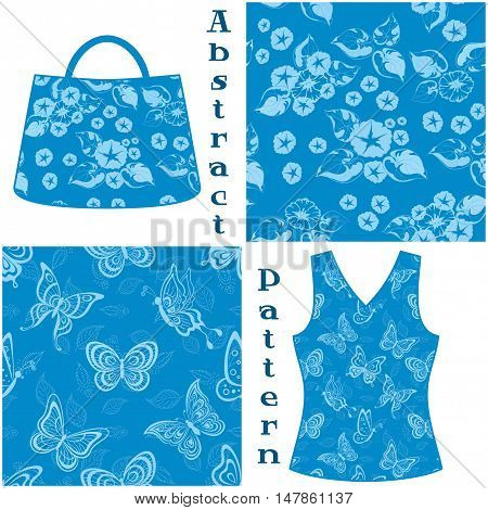 Set Seamless Patterns, Symbolical Flowers and Butterflies Contours and Silhouettes on Blue Background, Element for Design, Prints and Banners, For the Example Presented in a Female Top and Bag. Vector