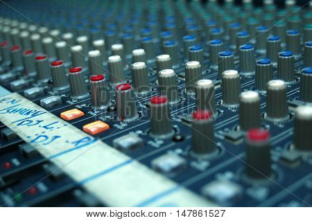 Multi channel music mixer commonly used in music studios, and radio stations.