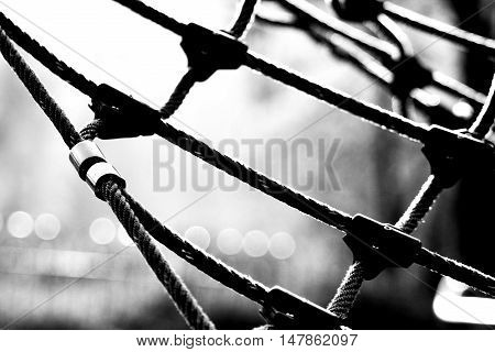 a rope net on the children's playground