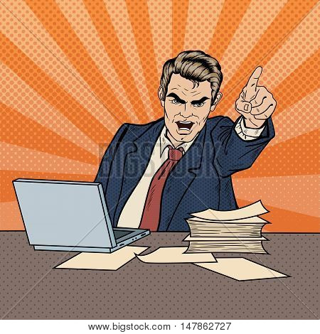 Angry Businessman Boss Screaming and Pointing Finger Out. Pop Art Vector illustration