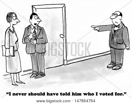 Political cartoon of a man pointing a finger and blaming a coworker because he dislikes who he voted for in the election.