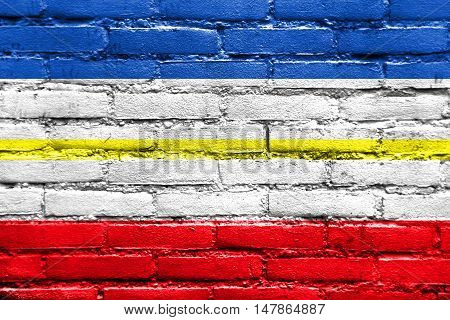 Flag Of Mecklenburg-western Pomerania, Germany, Painted On Brick Wall