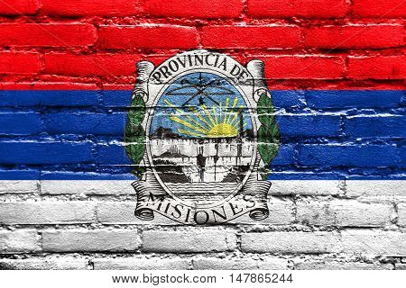 Flag Of Misiones Province With Coat Of Arms, Argentina, Painted On Brick Wall