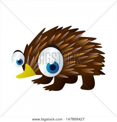 vector funny animal cute character illustration. Echidna