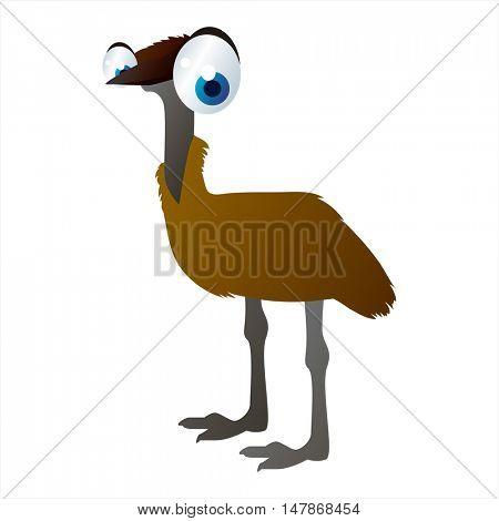 vector funny animal cute character illustration. Emu